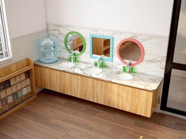 Bồn rửa tay riêng biệt nhằm đảm bảo an toàn tuyệt đối sức khỏe của trẻ